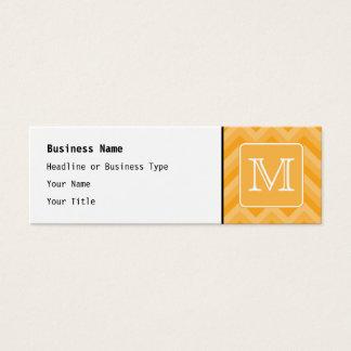 Cartão De Visitas Mini Teste padrão amarelo ambarino de Chevron.