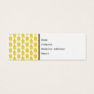 Cartão De Visitas Mini Teste padrão amarelo das pimentas