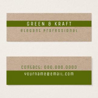 Cartão De Visitas Mini verde & profissional elegante de kraft