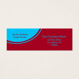 Cartão De Visitas Mini Vermelho brilhante do círculo de turquesa