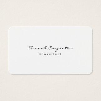 Cartão De Visitas Minimalista branco liso simples à moda atrativo