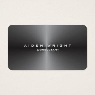 Cartão De Visitas Minimalista moderno à moda cinzento metálico