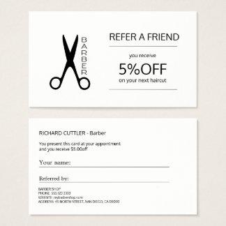Cartão De Visitas Modelo preto e branco da referência da barbearia