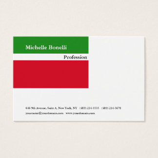 Cartão De Visitas Moderno minimalista branco vermelho verde