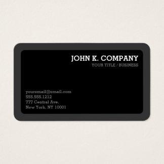 Cartão De Visitas Moderno mínimo cinzento & preto da obscuridade