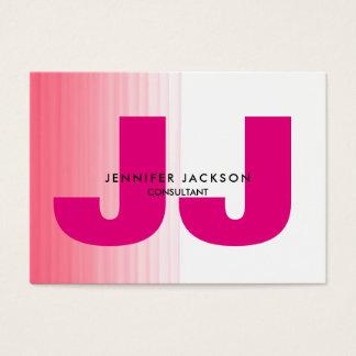 Cartão De Visitas Moderno na moda do monograma branco cor-de-rosa