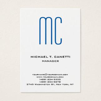 Cartão De Visitas Monograma branco azul minimalista liso moderno