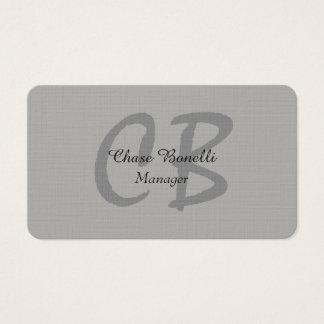 Cartão De Visitas Monograma cinzento clássico profissional