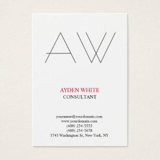Cartão De Visitas Monograma cinzento vermelho branco preto simples