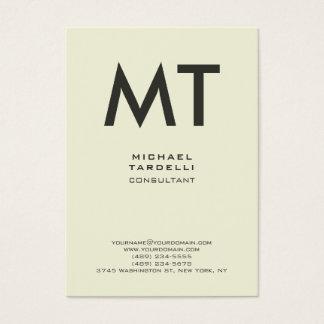Cartão De Visitas Monograma corajoso vertical na moda da cor bege