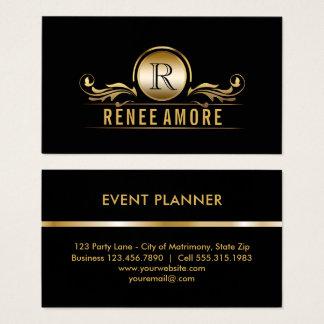 Cartão De Visitas Monograma elegante do preto do ouro do planejador