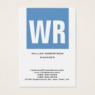 Cartão De Visitas Monograma enorme vertical branco azul original na