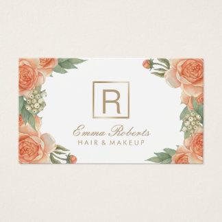 Cartão De Visitas Monograma floral do vintage do cabeleireiro do