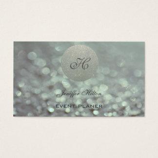 Cartão De Visitas Monograma glittery do bokeh chique elegante