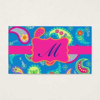 Cartão De Visitas Monograma moderno cor-de-rosa fúcsia de Paisley de