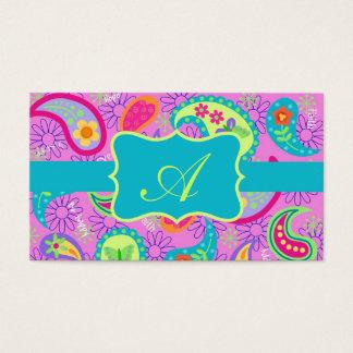 Cartão De Visitas Monograma moderno de Paisley de turquesa