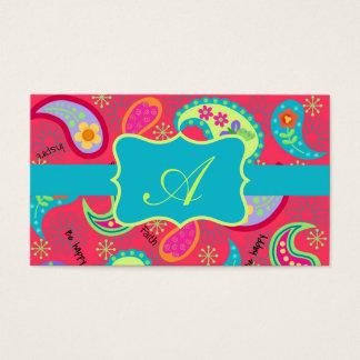 Cartão De Visitas Monograma moderno de Paisley de turquesa do