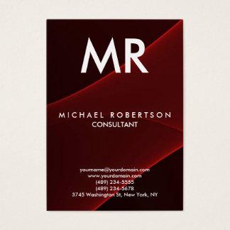 Cartão De Visitas Monograma moderno vermelho marrom da qualidade