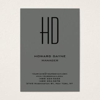 Cartão De Visitas Monograma simples liso moderno na moda do cinza do