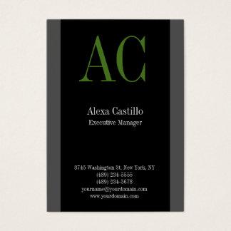 Cartão De Visitas Monograma verde cinzento preto profissional