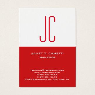 Cartão De Visitas Monograma vermelho branco simples liso moderno na