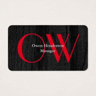 Cartão De Visitas Monograma vermelho corajoso de madeira cinzento
