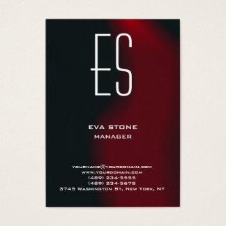 Cartão De Visitas Monograma vermelho marrom simples liso à moda
