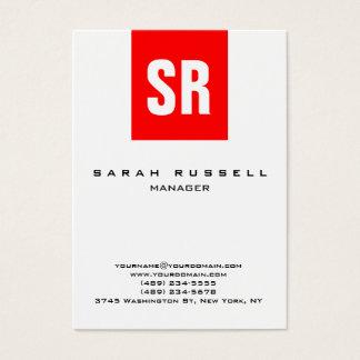Cartão De Visitas Monograma vertical branco da listra vermelha