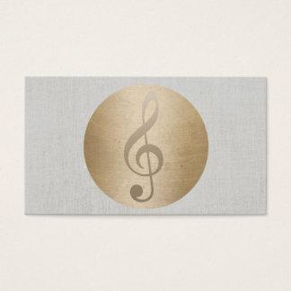 Cartão De Visitas Musical de linho elegante do círculo do ouro do