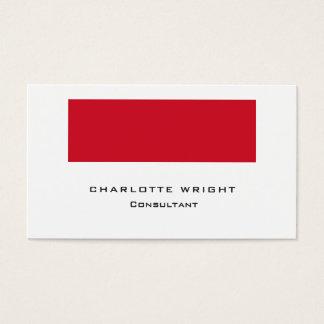 Cartão De Visitas Na moda minimalista moderno branco vermelho