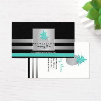 Cartão De Visitas Negócio profissional do abacaxi da prata & da