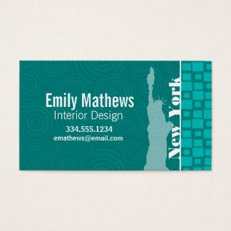 Cartão De Visitas New York; Quadrados de turquesa; Retro