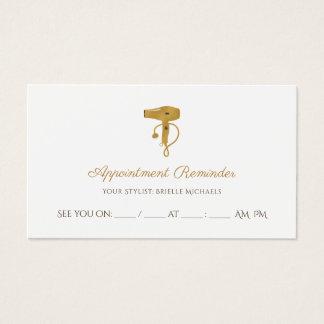 Cartão De Visitas Nomeação chique do secador de cabelo do ouro do