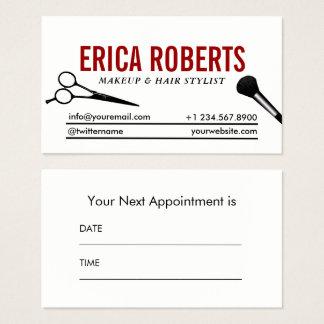 Cartão De Visitas Nomeação mínima do maquilhador & do cabeleireiro