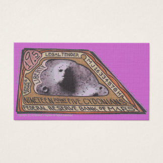 Cartão De Visitas Nota marciana do dinheiro $19,5 CYDONIANS de