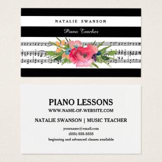 Cartão De Visitas Notas musicais modernas florais chiques de