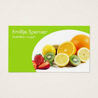 Cartão De Visitas Nutricionista amarelo verde/cartão saudável da