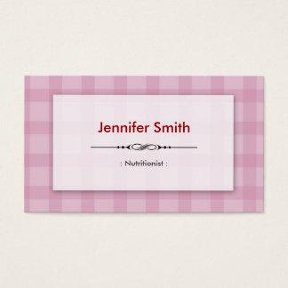 Cartão De Visitas Nutricionista da dietista - quadrados cor-de-rosa