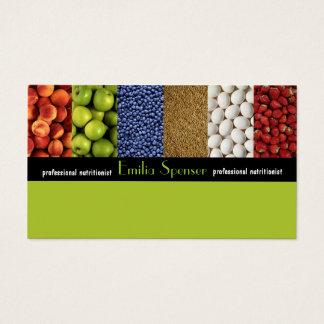 Cartão De Visitas Nutricionista do verde amarelo/cartão saudável da