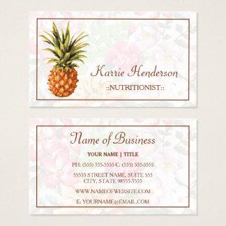 Cartão De Visitas Nutricionista tropical elegante floral e do
