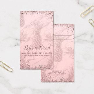 Cartão De Visitas O abacaxi do brilho do ouro do rosa do rosa