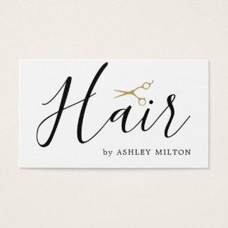 Cartão De Visitas O branco limpo elegante Scissors o cabeleireiro