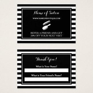 Cartão De Visitas O branco preto na moda listra o vale da referência