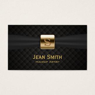Cartão De Visitas O diamante luxuoso do monograma do ouro estofa o