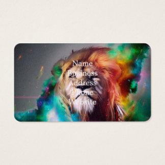 Cartão De Visitas O leão colorido que olha acima empluma-se o