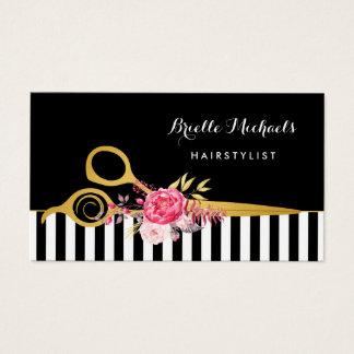 Cartão De Visitas O ouro do falso Scissors o cabeleireiro floral