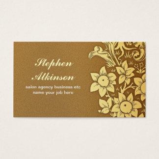 Cartão De Visitas O ouro protege o vintage floral elegante dos
