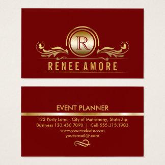 Cartão De Visitas O ouro vermelho elegante do planejador de evento |