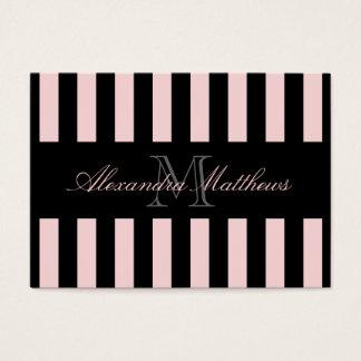 Cartão De Visitas O preto elegante cora listra
