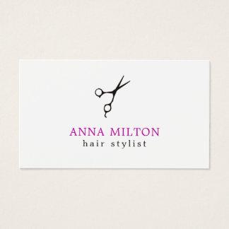 Cartão De Visitas O preto elegante mínimo Scissor o cabeleireiro